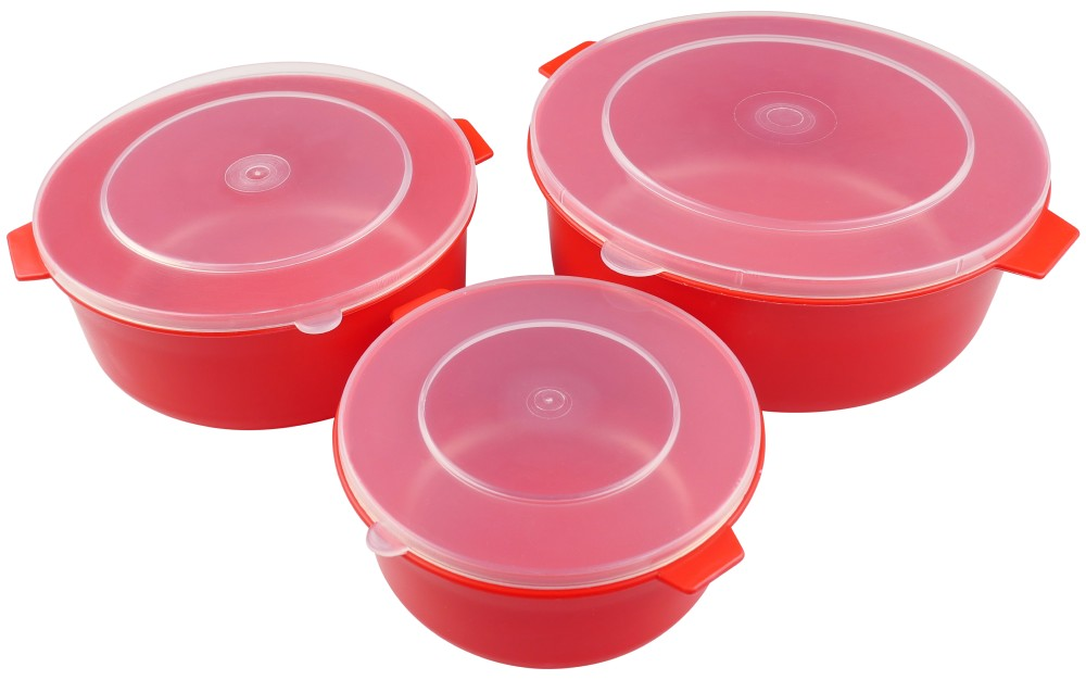 Set of three red microwaveable lidded dishes [JWP.4039]