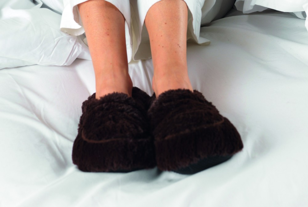 Furry warmers brown heatable slippers [TLX.BROWN SLIPPERS]