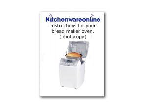 Instruction book for Panasonic SD-2501 Breadmaker [PAN.BRE.ADZ50B166]