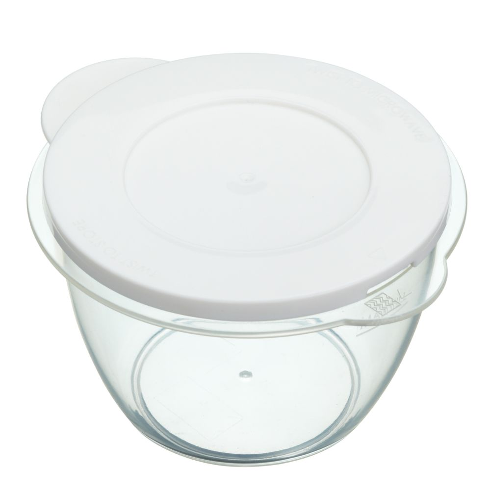 Pack of two microwave heat and store pots with lids [KCT.KCMPOT2PC]